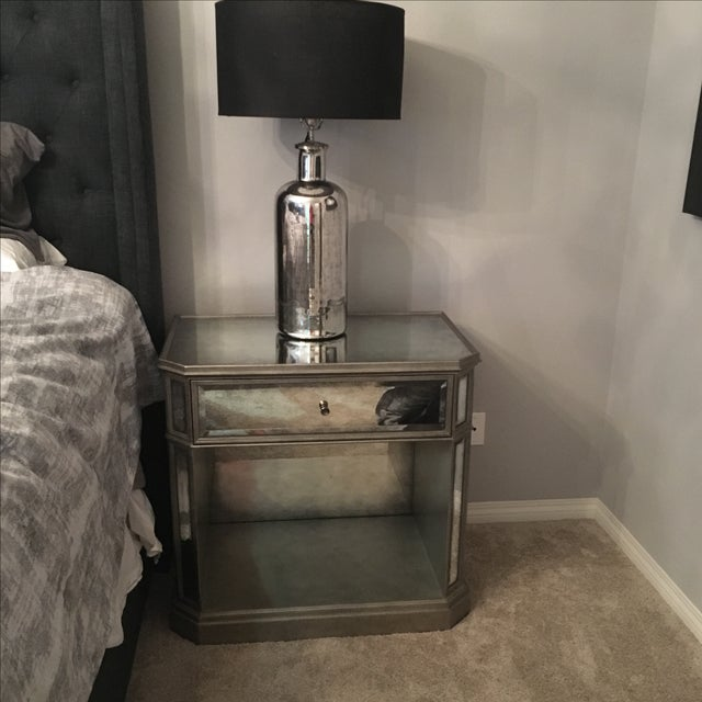 Image of 1930s Style French Mirrored Open Nightstand