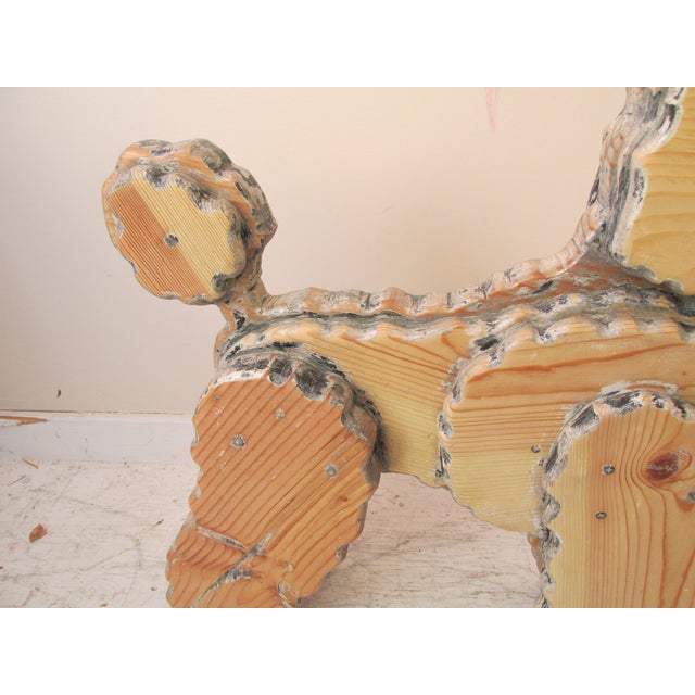 Life Size Wooden Poodle Sculpture - Image 6 of 7