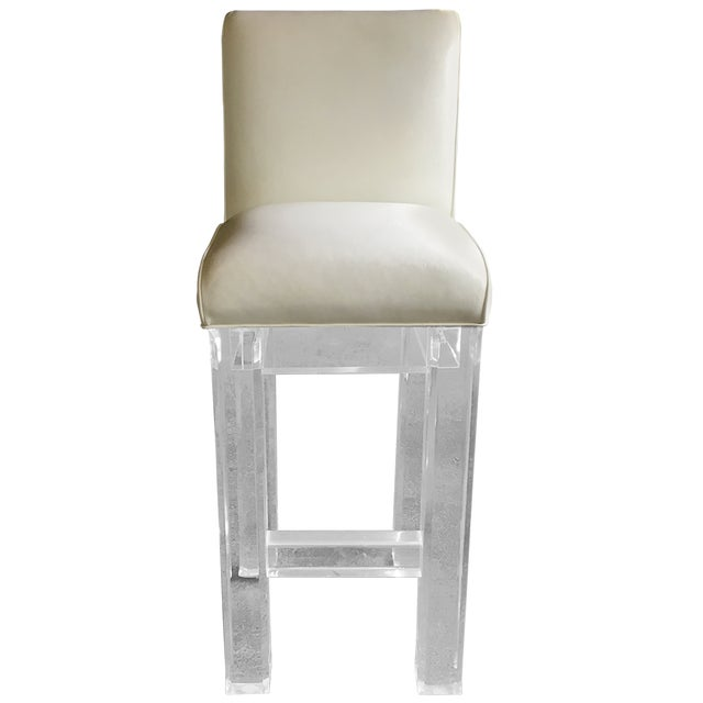 Lucite & Leather Bar Stools - Set of 4 - Image 2 of 4