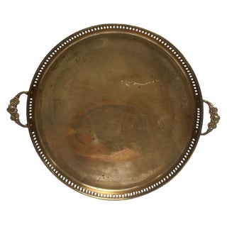 Round Vintage Brass Tray With Floral Handles