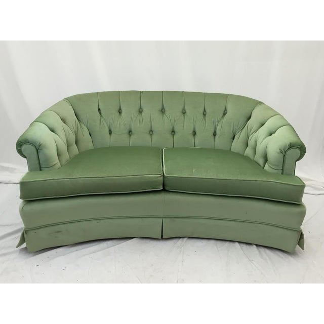 Tufted Back Green Velvet Sofa Chairish