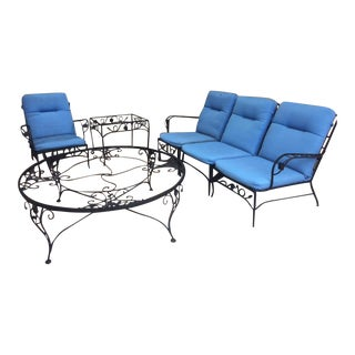Mid-Century Woodard Wrought Iron Patio Set