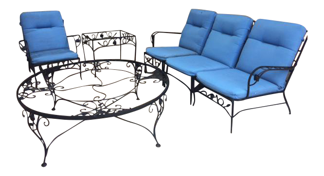 Mid Century Woodard Wrought Iron Patio Set