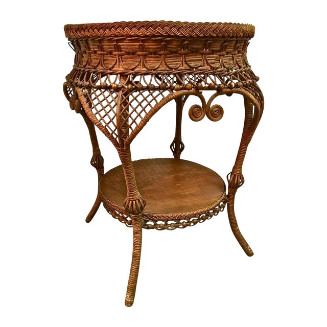 Antique Heywood Wakefield Wicker Side Table | Chairish