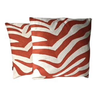 "Orange Zebra Stitched Canvas 22"" Pillow Covers"