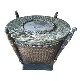Vintage Tribal Storage Basket with Lid