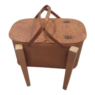 Vintage Picnic Basket Side Table