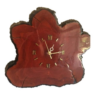 1970s Mid-Century Redwood Clock