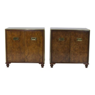 Pair of Campaign Style Burl Wood Midcentury Stands