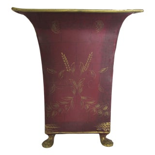 Decorative Red Tole Waste Bin
