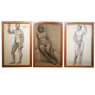 Set of Three Nude Study Pencil Sketches