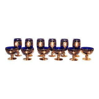 Venetian Cobalt and Gold Stemware - Set of 12