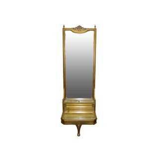 Gilt French Pier Mirror with Beveled Display Box