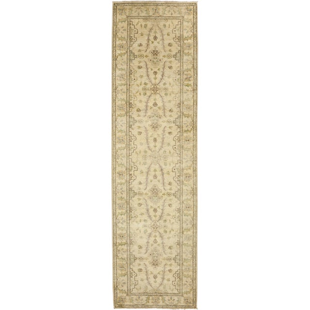"New Oushak Hand Knotted Runner - 2'7"" x 9'4"" - Image 1 of 3"