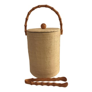 Vintage Tiki Burlap and Bamboo Ice Bucket & Tongs