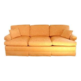 Vintage Baker Furniture Pink Damask 3 Seat Down Filled Sofa