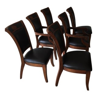 Mahogany Leather Dining Chairs - Set of 6