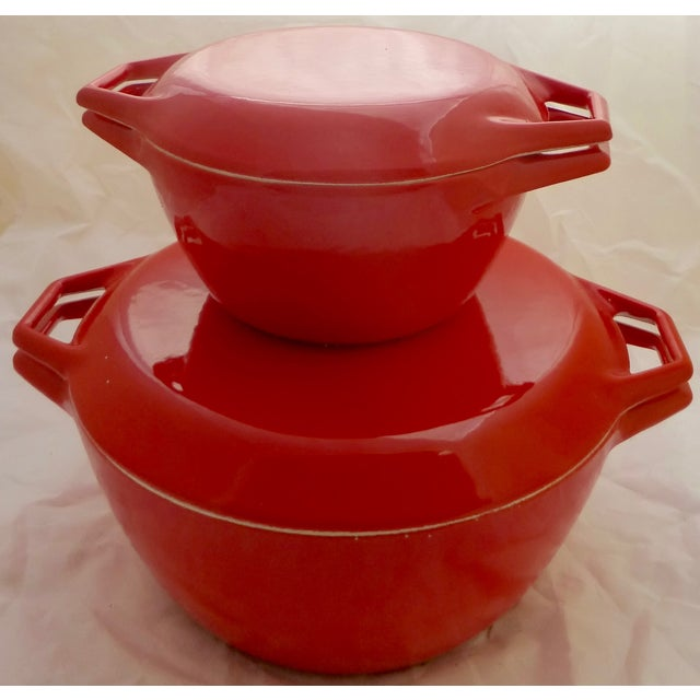 Candy Red Danish Copco Casseroles by Michael Lax - Image 2 of 8
