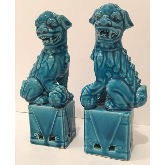 Turquoise Vintage Foo Dogs - A Pair - Image 3 of 9