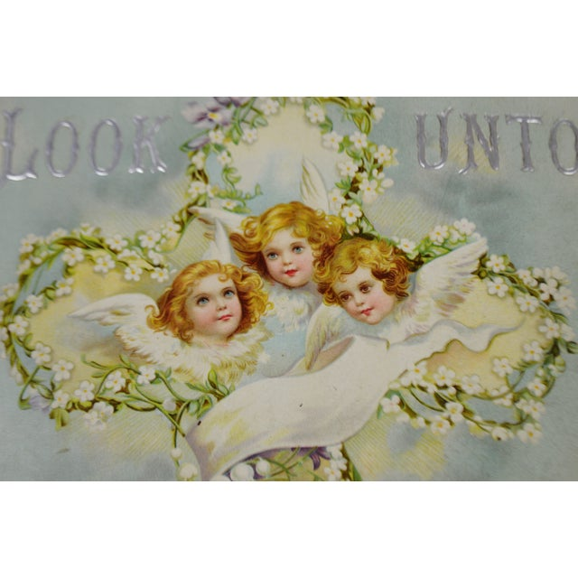 Victorian Wall Art Look Unto Me and Be Ye Saved Isaiah 45:22 Print on Board Made in Germany - Image 4 of 11