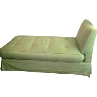 Vintage Green Checked Armless Chaise