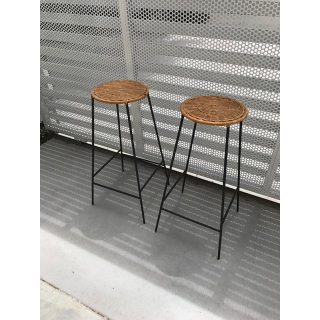 Mid-Century Wicker & Iron Stools - A Pair - Image 3 of 6