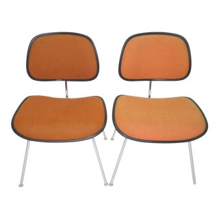A Pair of Mid-Century Modern Eames Padded Dcm Chairs for Herman Miller