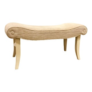 Hickory Chair Co. Off-White Cut Velvet Calla Bench