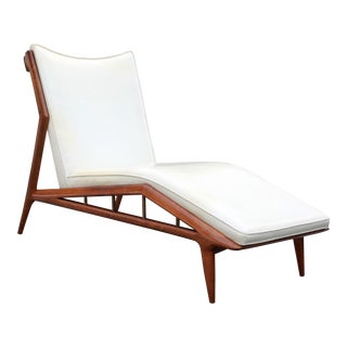 Erwin Lambeth Mid-Century Modern Sculpted Walnut Chaise Lounge