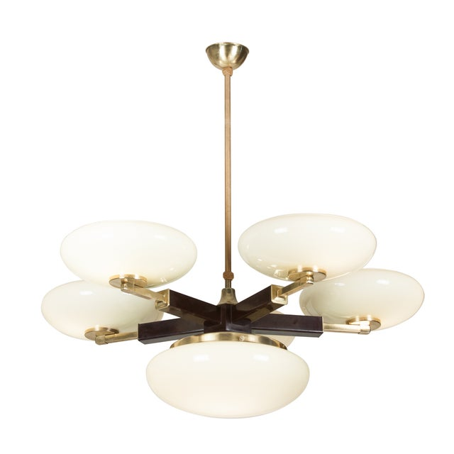 Opaque Glass and Brass Chandelier, German 1930s - Image 1 of 7