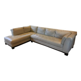 Chateau 2-Piece L-Shaped Cream Leather Sectional