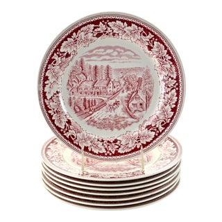 Cranberry Homer Laughlin Plates - Set of 8