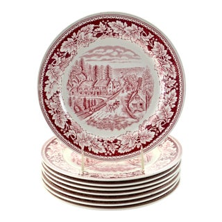 Cranberry Homer Laughlin Plates - Set of 8