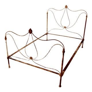 Antique Art Nouveau Iron Bed