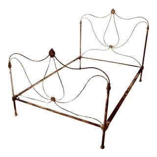 Antique Art Nouveau Iron Bed