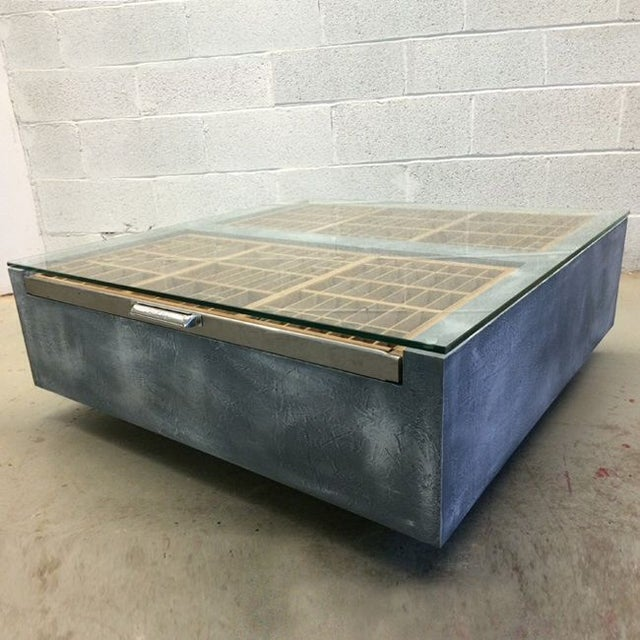 Faux Concrete Type Tray Coffee Table - Image 2 of 4
