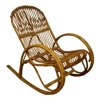 Frank Albini Style Bamboo Rocking Chair