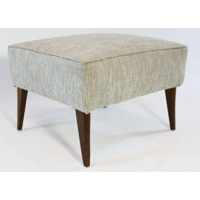 Mid Century Blue Tan And Ivory Tweed Ottoman - Image 2 of 4