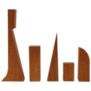 Mid-Century Architect Geometric Wood Objects