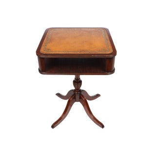 English Leather Top Mahogany End Table