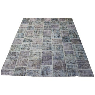 Blue Color Patchwork Rug - 8′9″ × 11′2″