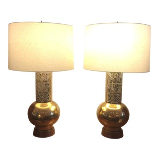 Large Ceramic Gold Lamps - A Pair