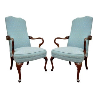 Ethan Allen Usa Vintage Queen Anne Library Office Lounge Fireside Arm Chair - a Pair