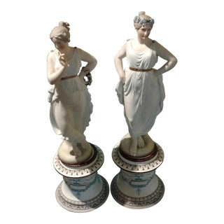 Jean Gille French Bisque Porcelain Figurines - A Pair