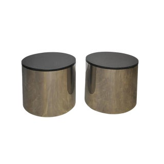 Paul Mayen Stainless and Black Granite Side Tables
