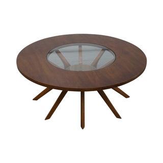 Mid Century Modern Round Walnut Glass Coffee Table