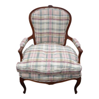 Vintage French Country Carved Wood & Plaid Arm Chair