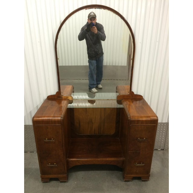 1930's Waterfall Vanity With Mirror & Stool - Image 9 of 9