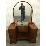 Image of 1930's Waterfall Vanity With Mirror & Stool