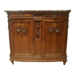 Antique French Marble Top Oak Cabinet